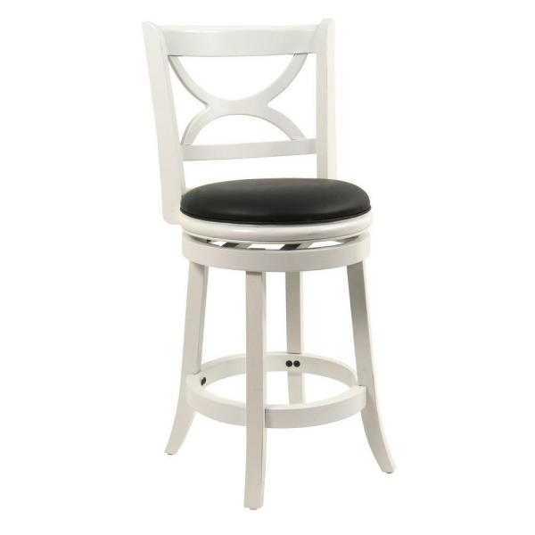 Fabulous Florence 24 In Distressed White Swivel Cushioned Bar Stool Short Links Chair Design For Home Short Linksinfo