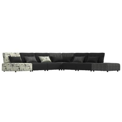 Domena 7-Piece Modular Sectional in a Mix of Black and Gray Solids and Geometric