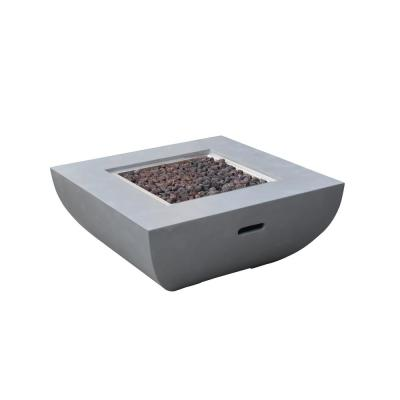 Westport 34 in. x 14 in. Square Concrete Natural Gas Fire Table in Light Gray