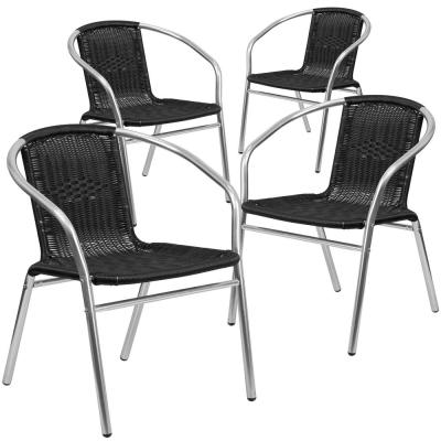 Stackable Metal Outdoor Dining Chair in Aluminum and Black (Set of 4)