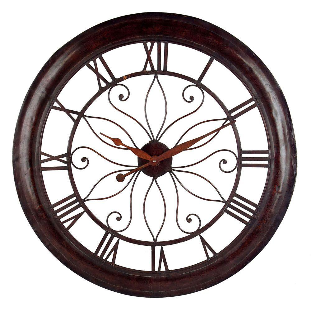 Home Decorators Collection 30-1/4 in. Open Back Rust Wall Clock