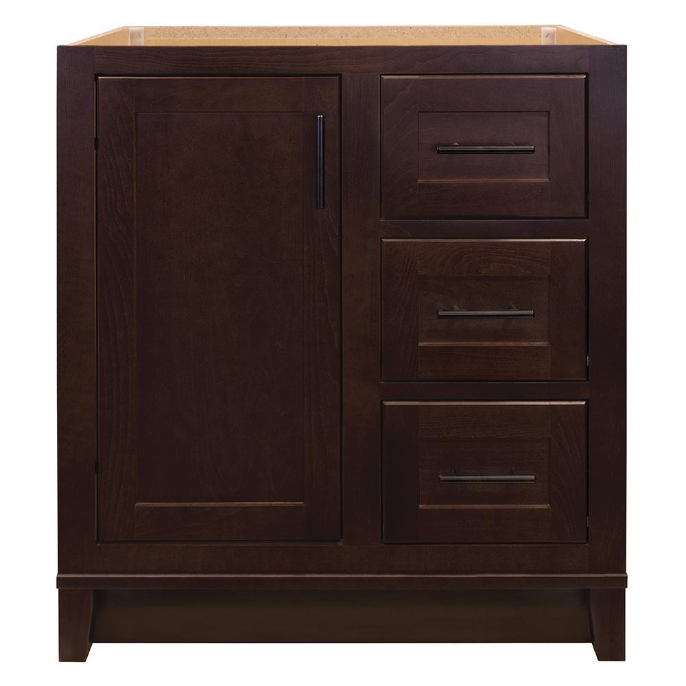 Glacier Bay Kinghurst 30 in. W x 21 in. D x 33.5 in. H Bathroom Vanity Cabinet Only in Dark Cognac
