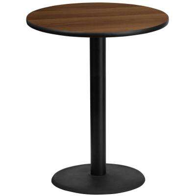 36 in. Round Black and Walnut Laminate Table Top with 24 in. Round Bar Height Table Base