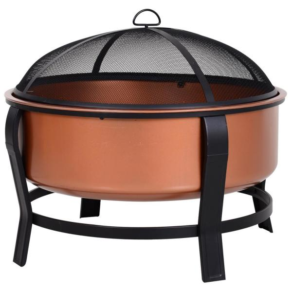 29.75'' W x 25.5'' H Copper-Colored Round Basin Wood Fire Pit Bowl with Black Base, Wood Poker, and Mesh Screen for Embers