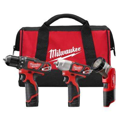 M12 12-Volt Lithium-Ion Cordless Combo Tool Kit (3-Tool) with (2) 1.5 Ah Batteries, (1) Charger, (1) Tool Bag