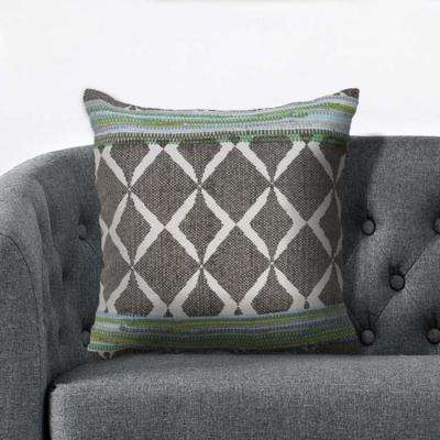 Geometric Chevron 18 in. x 18 in. Green/Blue Throw Pillow