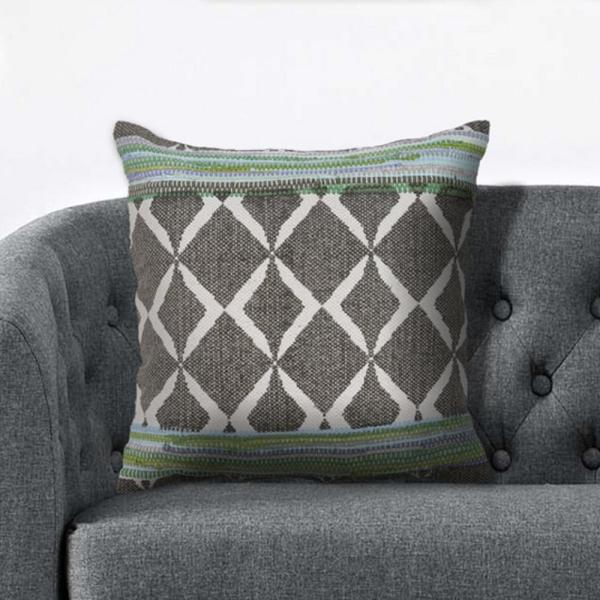 LR Resources Geometric Chevron 18 in. x 18 in. Green/Blue Throw