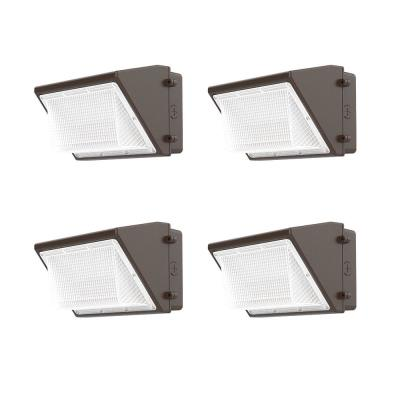 200-Watt Equivalent Integrated LED Bronze Outdoor Security Wall Pack Lighting, 3300 Lumens (4-Pack)
