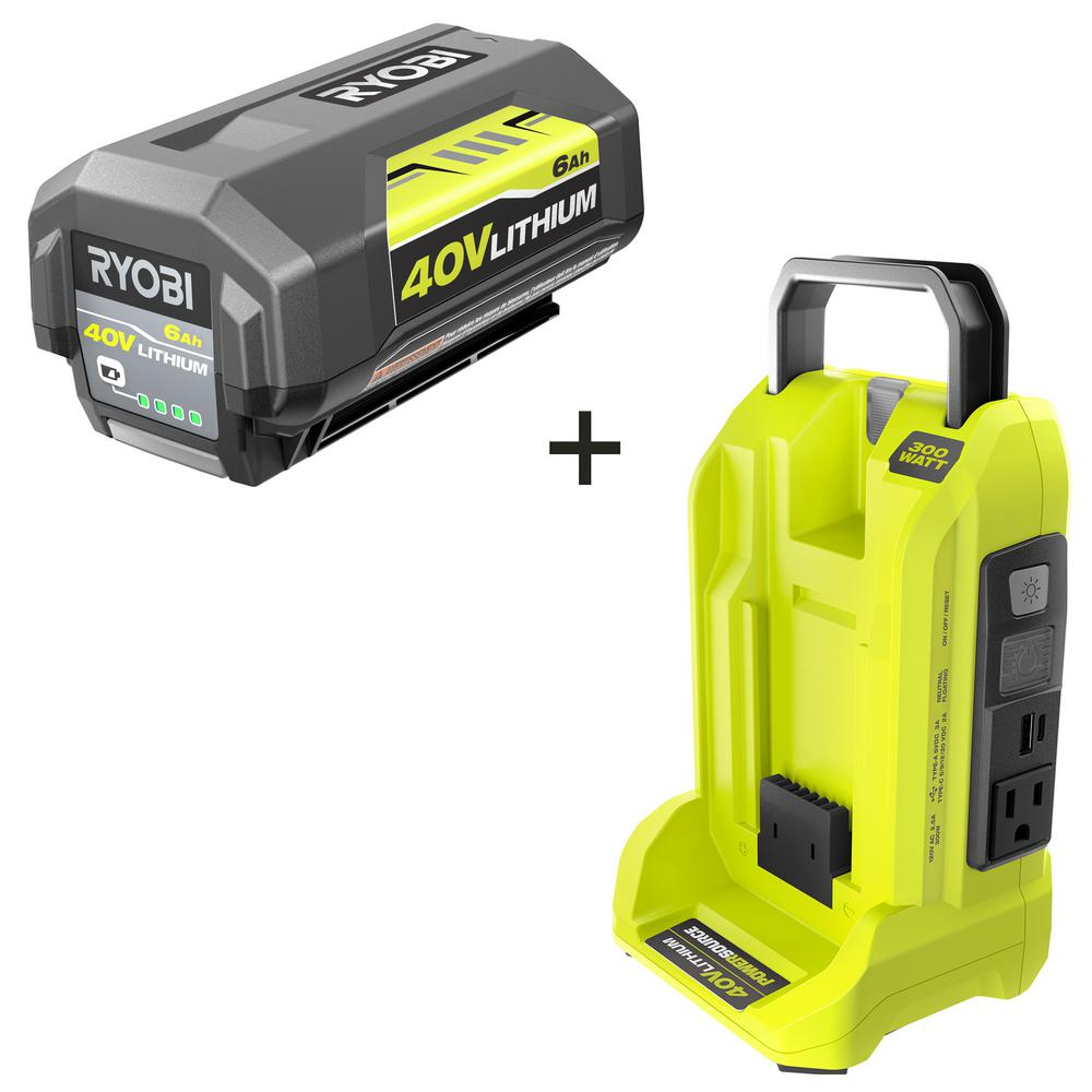 RYOBI 300-Watt Button Start Powered Inverter for 40-Volt Battery with 6.0 Ah Battery Included
