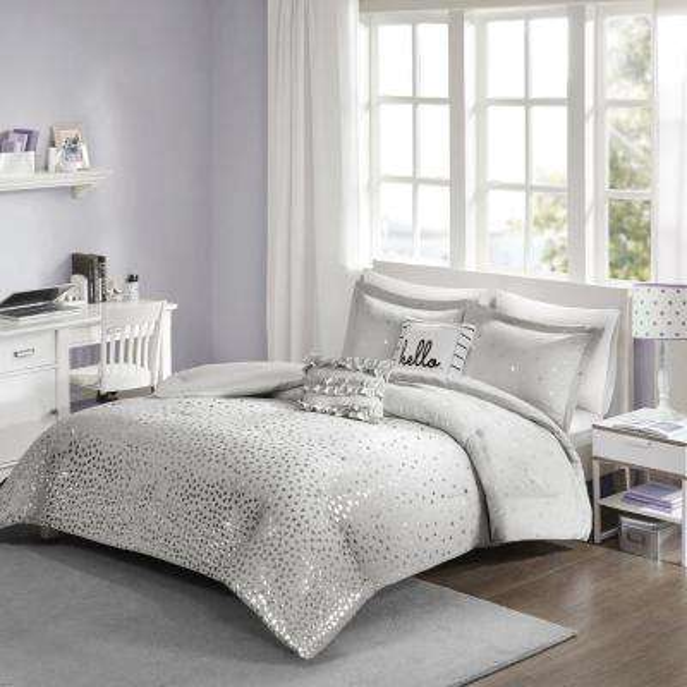 Liv 4-Piece Grey/Silver Twin/Twin XL Geometric Comforter Set