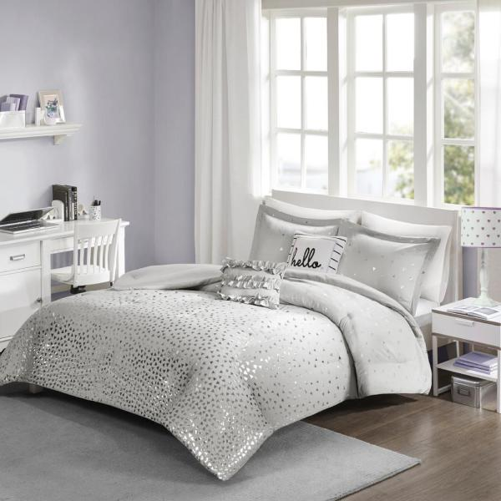 Intelligent Design Liv 4-Piece Grey/Silver Twin/Twin XL Geometric Comforter Set