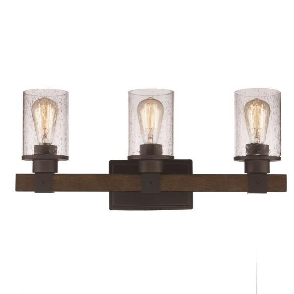 Siesta 7 5/8 in. 3-Light Rubbed Oil Bronze Vanity Light with Seeded Glass Cylinder Shades