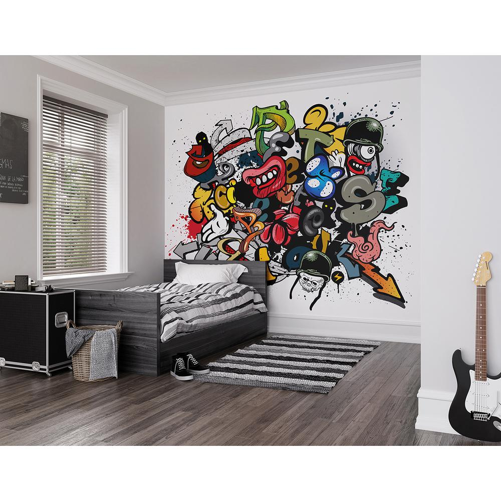 Brewster 118 in x 98 in spray paint wall mural wals0174 for Brewster wall mural