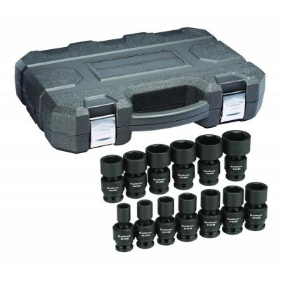 1/2 in. Drive 6-Point Standard Universal Impact SAE Socket Set (13-Piece)
