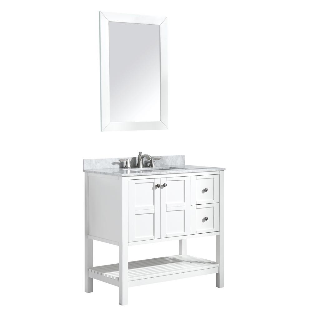 ANZZI Montaigne 36 in. W x 35.75 in. H Bath Vanity in White with Marble Vanity Top in Carrara White w/ White Basin and Mirror