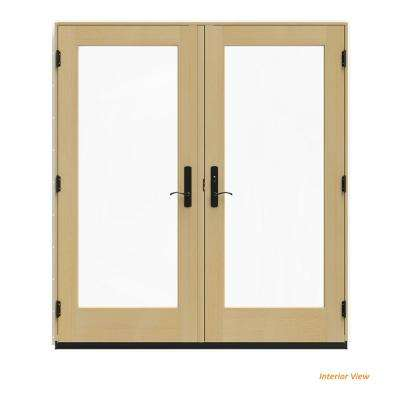 72 in. x 80 in. W-4500 White Clad Wood Left-Hand Full Lite French Patio Door w/Unfinished Interior