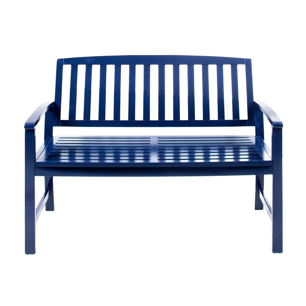 Loja 2 Person Navy Blue Wood Outdoor Bench