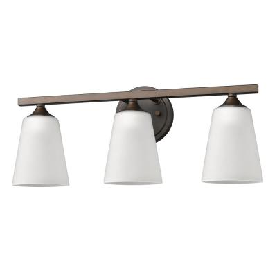 Zoey 3-Light Oil-Rubbed Bronze Vanity Light with Frosted Glass Shades