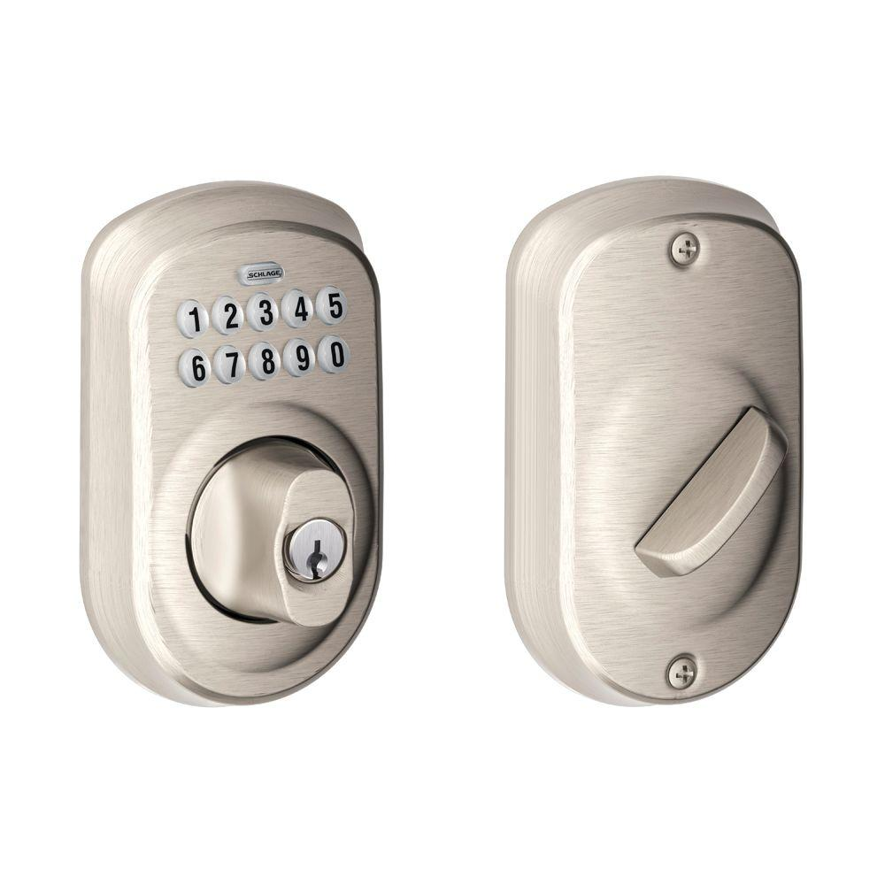 Schlage Plymouth Satin Nickel Keypad Electronic Deadbolt Be365 Ply