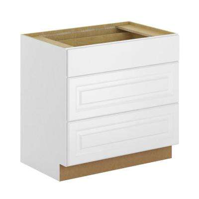 Madison Assembled 36x34.5x24 in. Pots and Pans Drawer Base Cabinet in Warm White