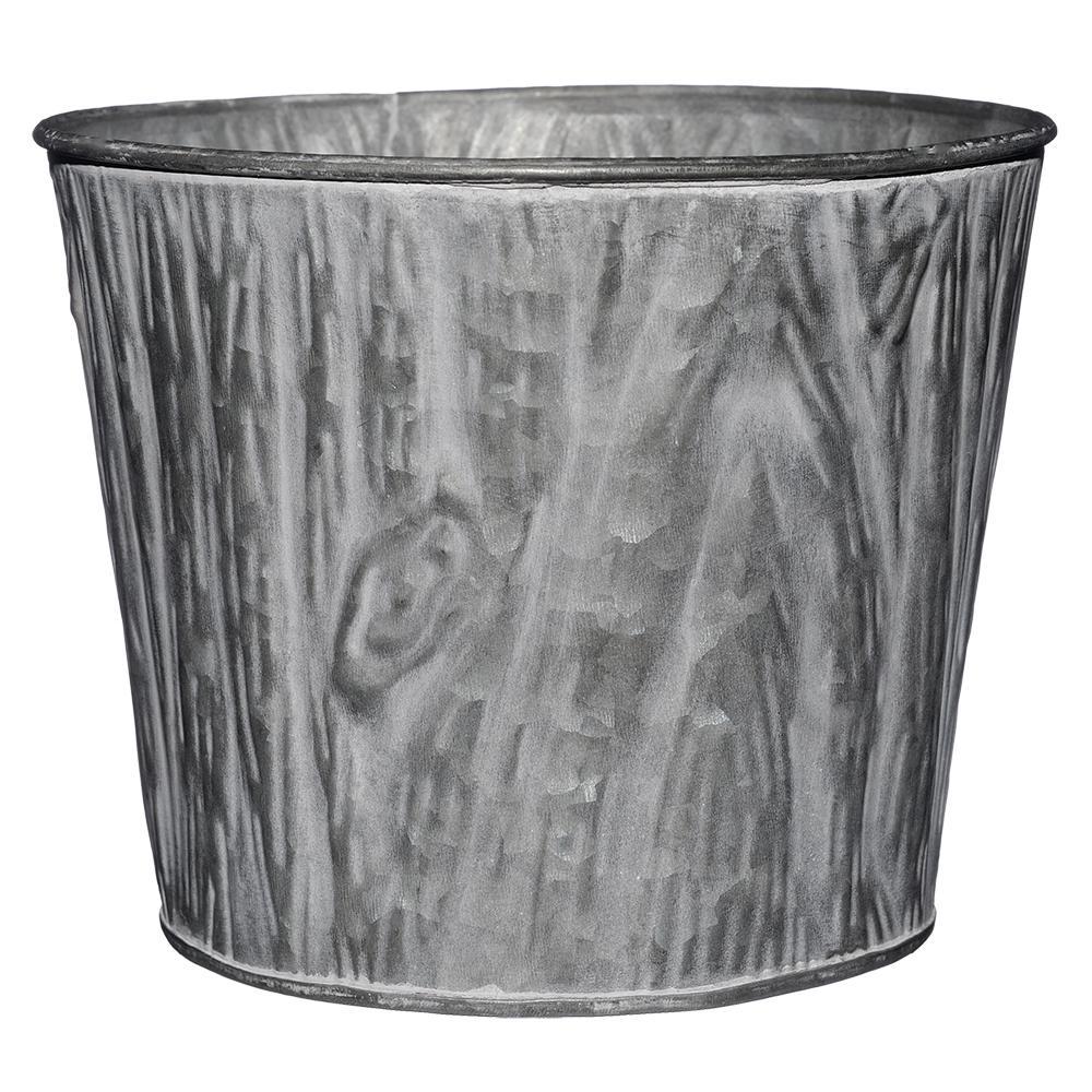 8 in. Galvanized with Whitewash Faux Wood Grain Tin Planter