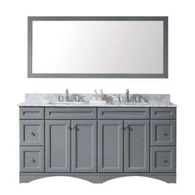 Talisa 72 in. W Bath Vanity in Gray with Marble Vanity Top in White with Square Basin and Mirror