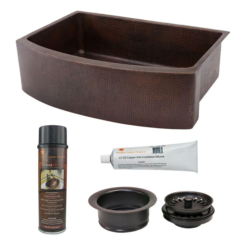 Undermount Hammered Copper 33 in. 0-Hole Rounded Single Bowl Kitchen Sink