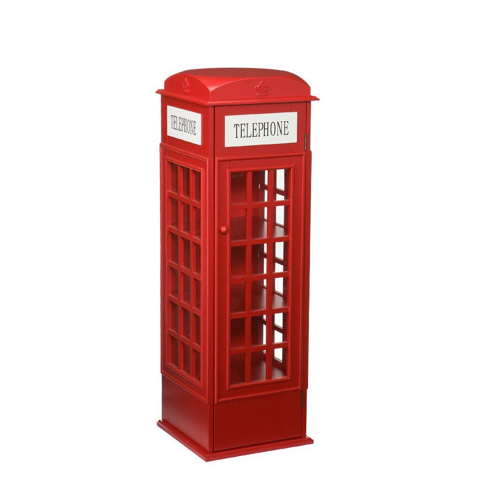 Southern Enterprises 100-Disc Capacity Phone Booth Multimedia Storage Cabinet