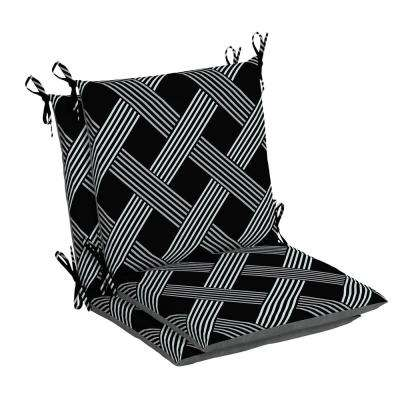 Black Lattice Outdoor Dining Chair Cushion (2-Pack)