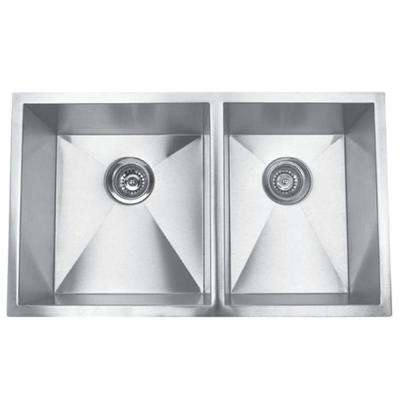 Hardy Undermount Stainless Steel 32 in. 60/40 Double Bowl Kitchen Sink