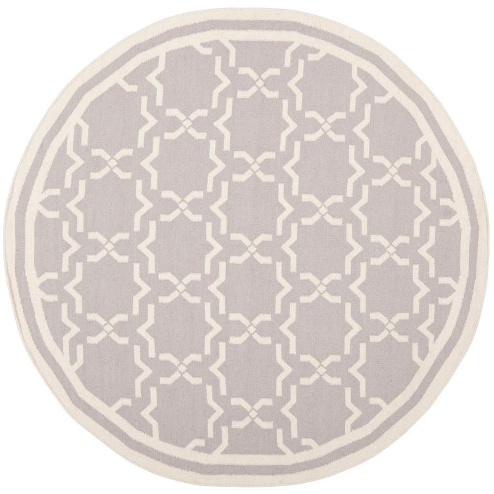 Safavieh Dhurries Grey Ivory 8 Ft X 8 Ft Round Area Rug