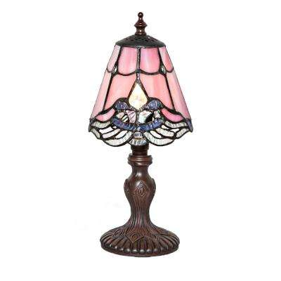 12.25 in. Light Pink Indoor Table Lamp with Stained Glass Crystal Lace Shade