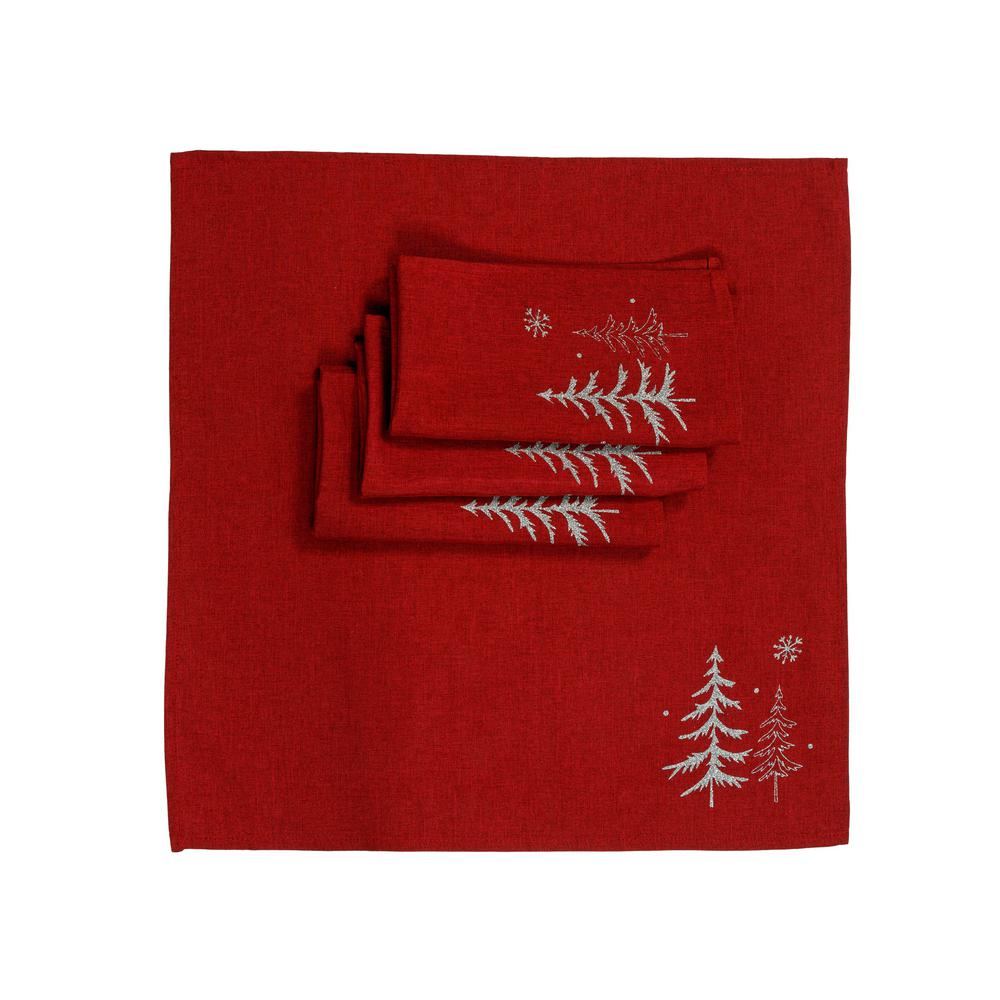 Christmas Napkins.Xia Home Fashions 0 1 In H X 20 In W X 20 In D Snowing Forest Christmas Napkins In Red Set Of 4