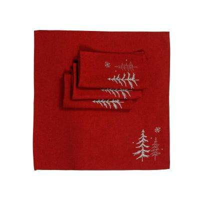 0.1 in. H x 20 in. W x 20 in. D Snowing Forest Christmas Napkins in Red (Set of 4)