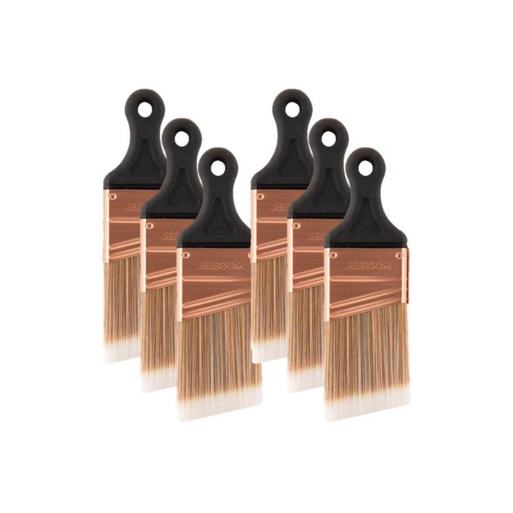 2 in. Nylon/Polyester Short Handle Angle Sash Brush (6-Pack)