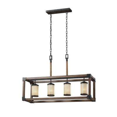 Dunning 36 in. W. 4-Light Weathered Gray and Distressed Oak Kitchen Island Light