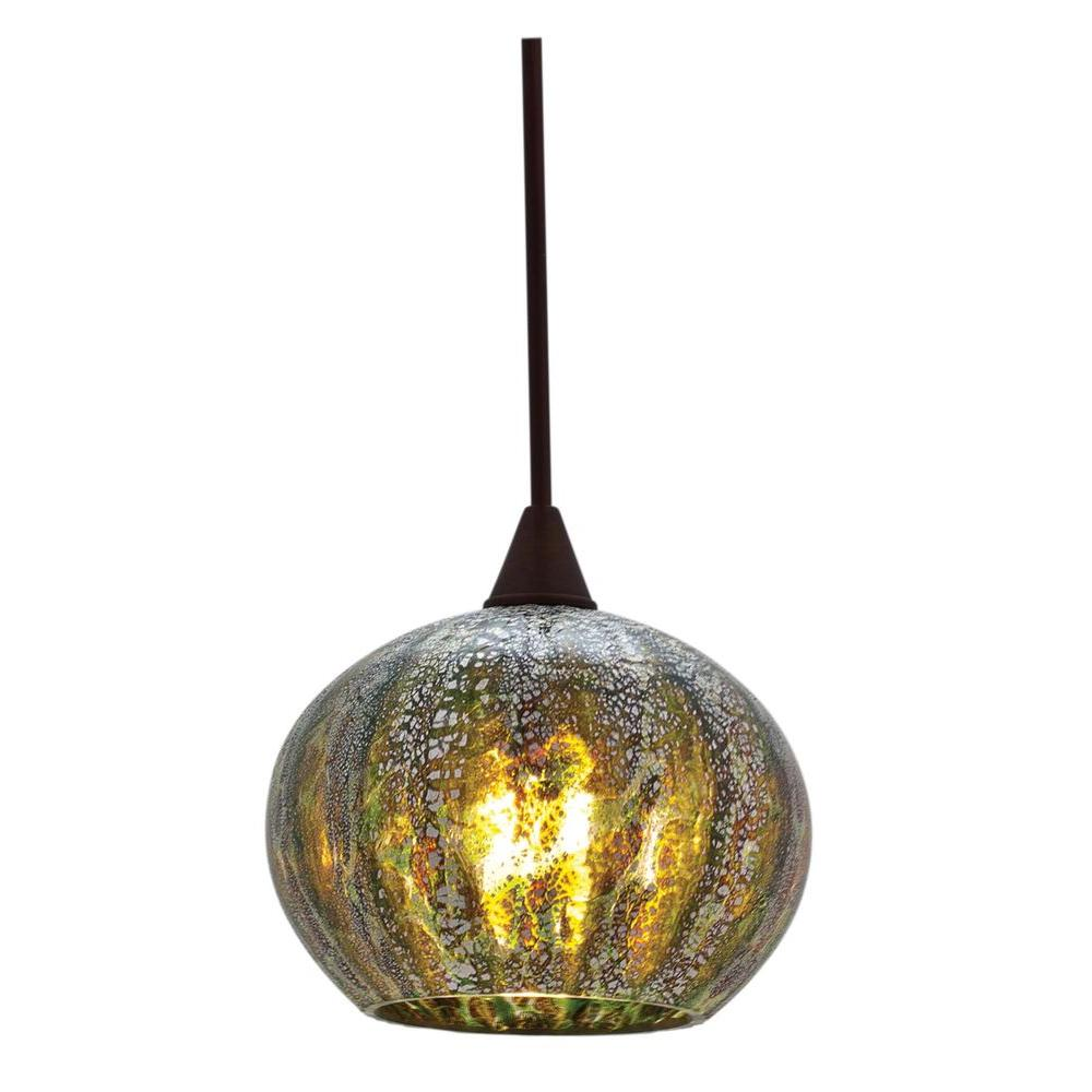 Illumine 1-Light Pendant Brushed Steel Finish Green Ribbed Opaline Glass-DISCONTINUED