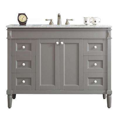 Catania 48 in. W x 22 in. D x 35 in. H Vanity In Grey with Marble Vanity Top in White with Basin