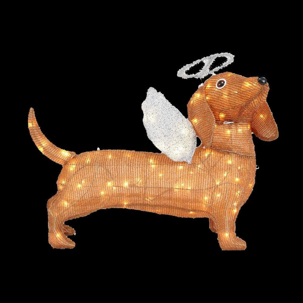 led lighted tinsel dachshund dog - Lighted Christmas Lawn Decorations