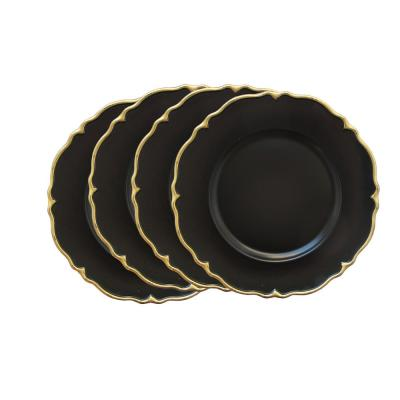 Black Melamine Charger Plates with Gold Scallop (4-Pack)