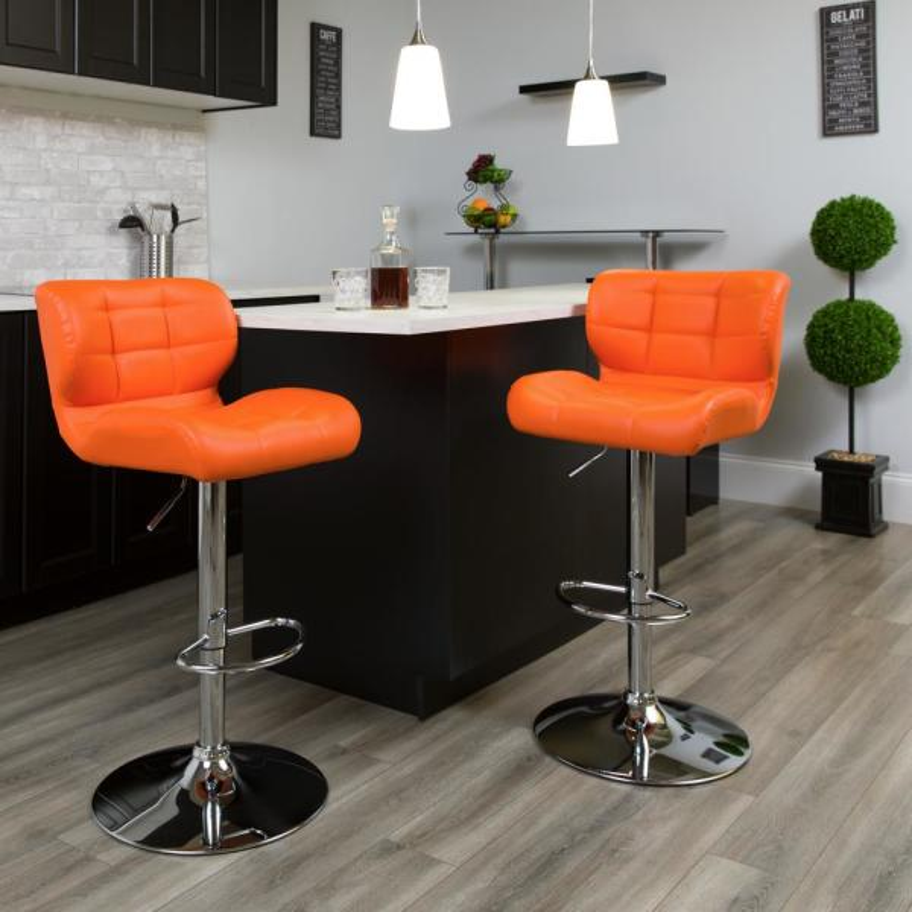 Pleasant Flash Furniture 33 In Adjustable Height Gray Cushioned Bar Ibusinesslaw Wood Chair Design Ideas Ibusinesslaworg