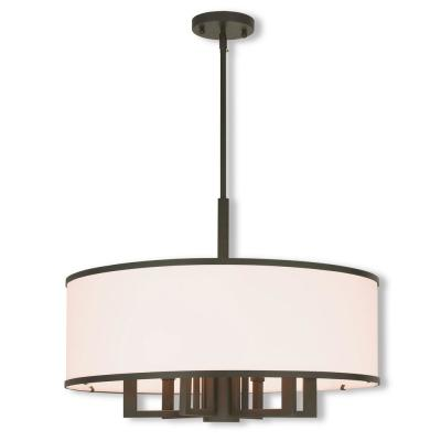 Park Ridge 7-Light Bronze Pendant Chandelier with Hand Crafted Off-White Fabric Hardback Shade