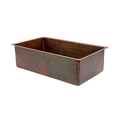 Under Counter/Surface Drop-in undermount Hammered Copper 30 in. 0-Hole Single Bowl Kitchen Sink in Oil Rubbed Bronze
