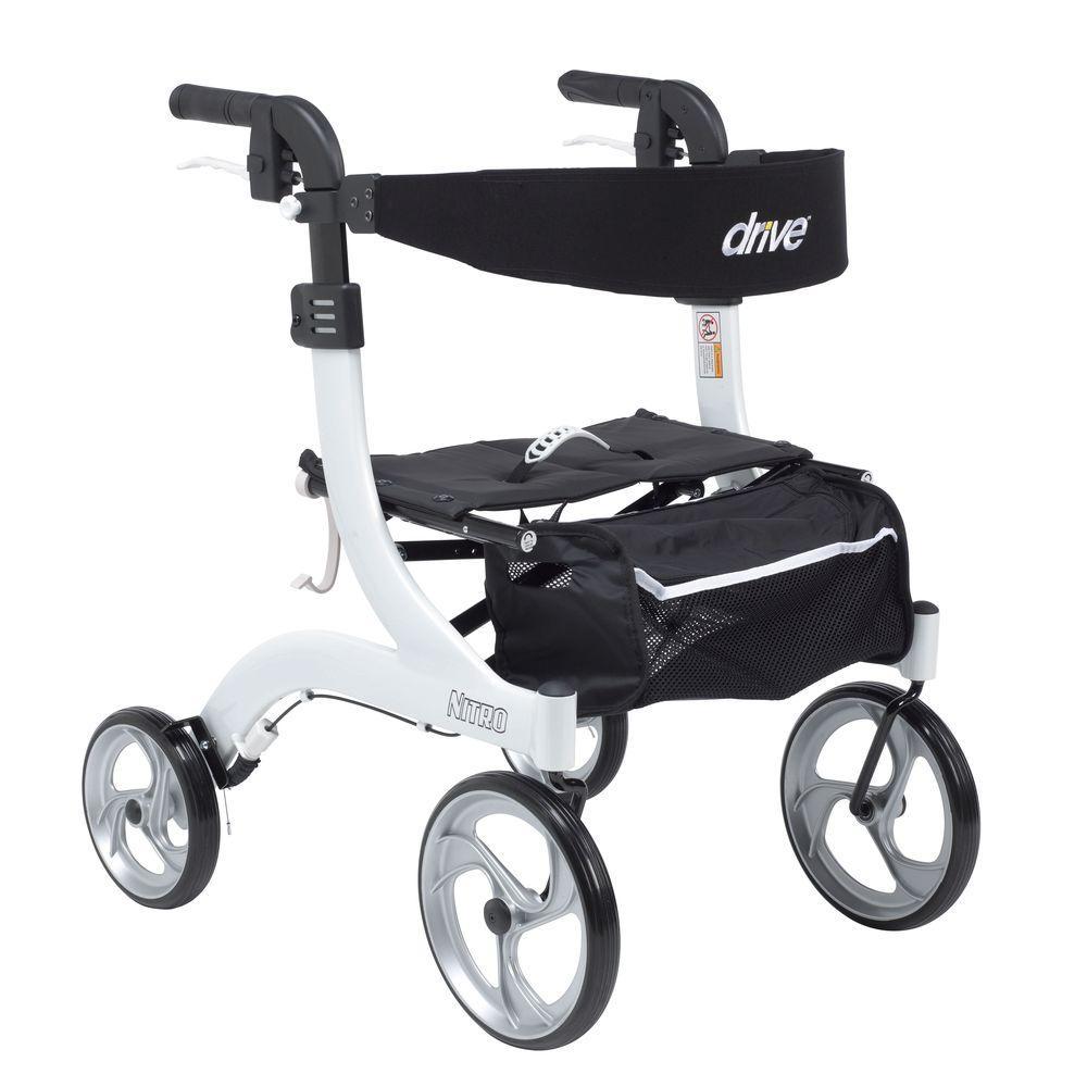 Drive Medical Rtl10266wt-h Nitro Euro Style Walker Rollator, Hemi Height, White