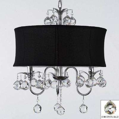 Contemporary 3-Light Chrome Chandelier with Black Shade and Crystal Balls