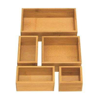 5-Piece Bamboo Storage Box Drawer Organizer Set