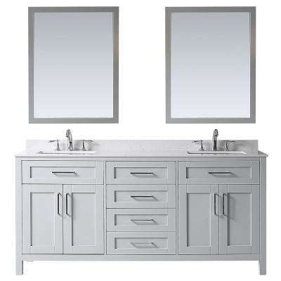 OVE Tahoe 72 in. W x 21 in. D Vanity in Dove Grey with Cultured Stone Vanity Top in White with White Basin and Mirror