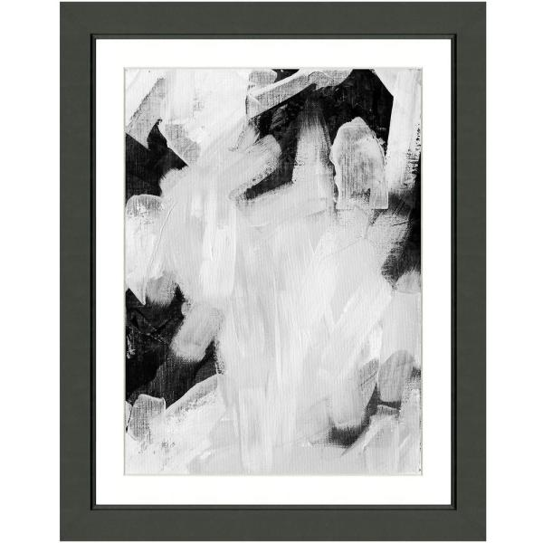 Vintage Print Gallery Black And White Abstract Ii Framed