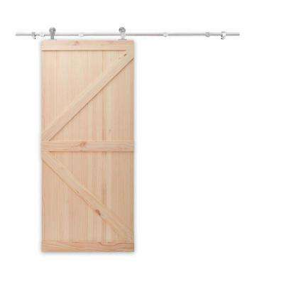 36 in. x 84 in. Unfinished Knotty Pine Wooden Door with Top Mount Stainless Steel Sliding Door Hardware Kit