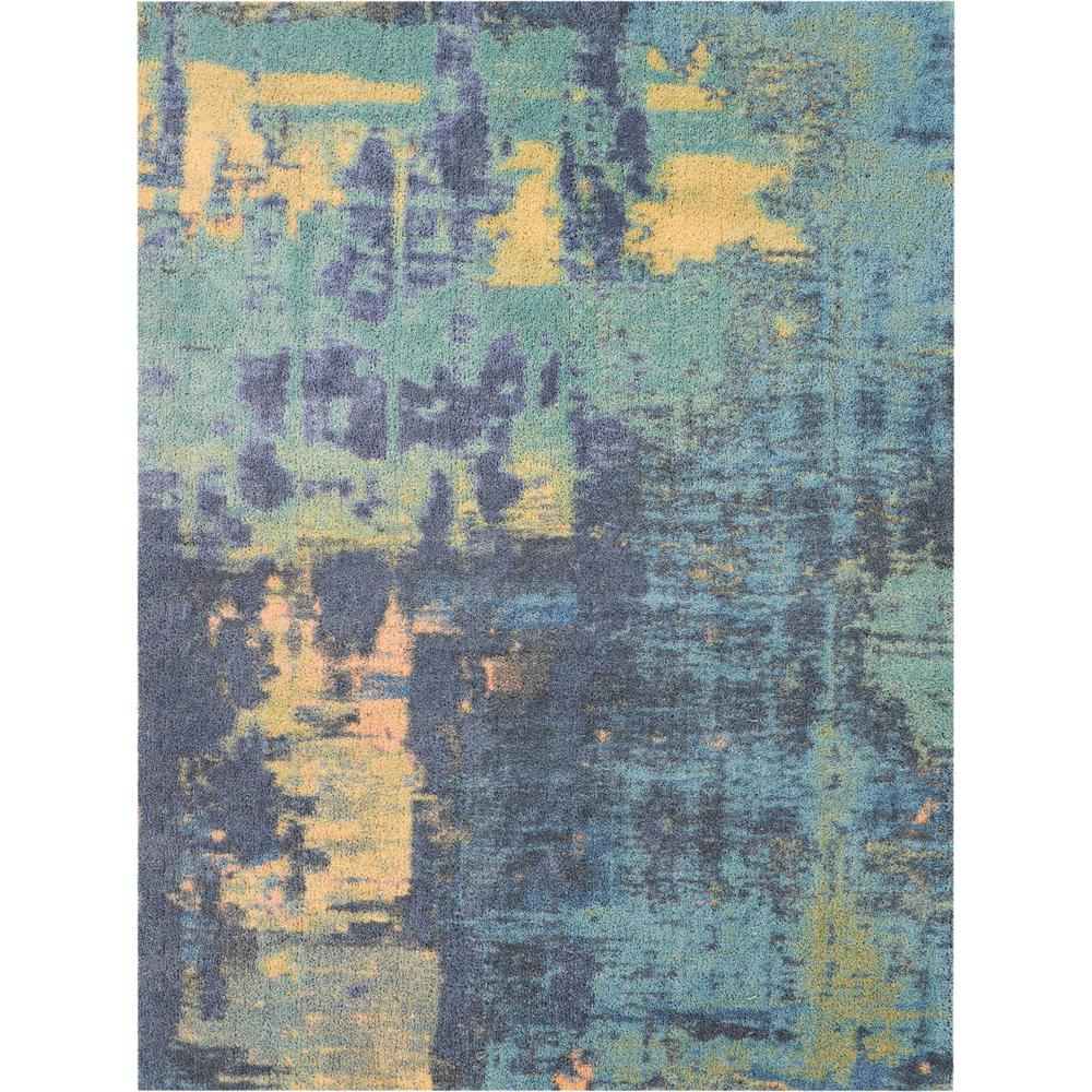 Nourison Abstract Shag 5' x 7' Green Multicolor Colorful ...